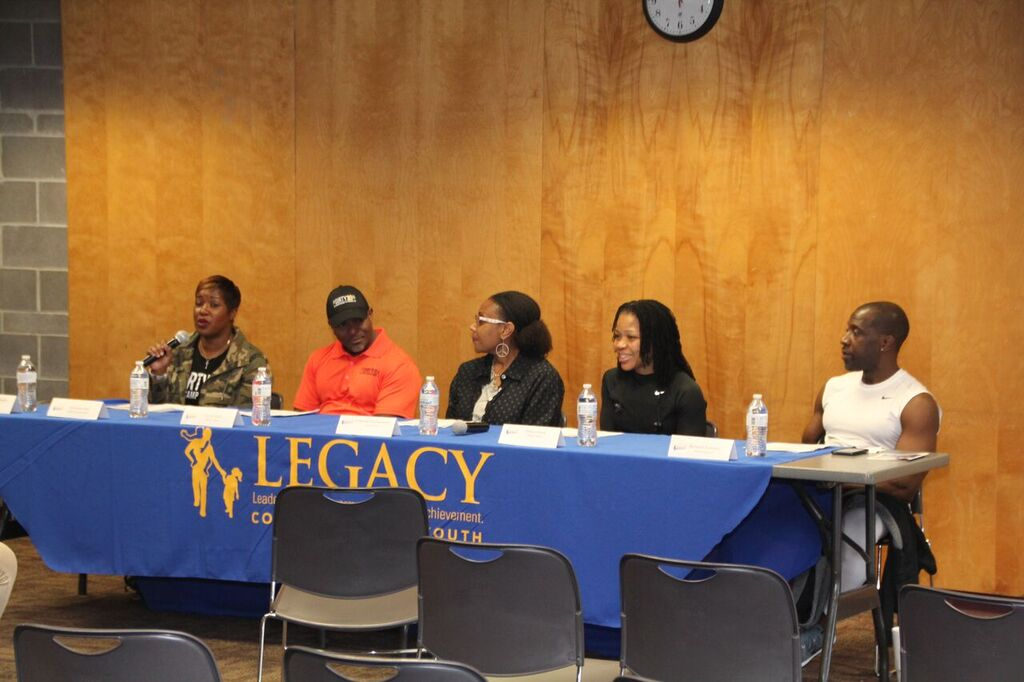 Panel Members: (Left to right): Adrian Hall, Trevor Wells, Celestine Muhammad, Prisca Grant, and Richard Torrence.