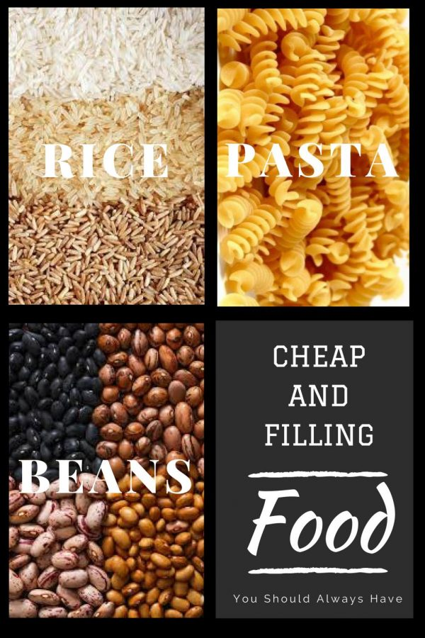 Rice, beans and pasta