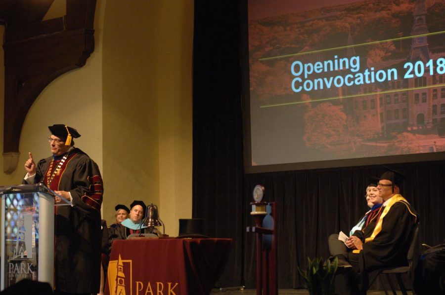 President+Greg+Gunderson+speaks+to+students+at++2018+opening+convocation