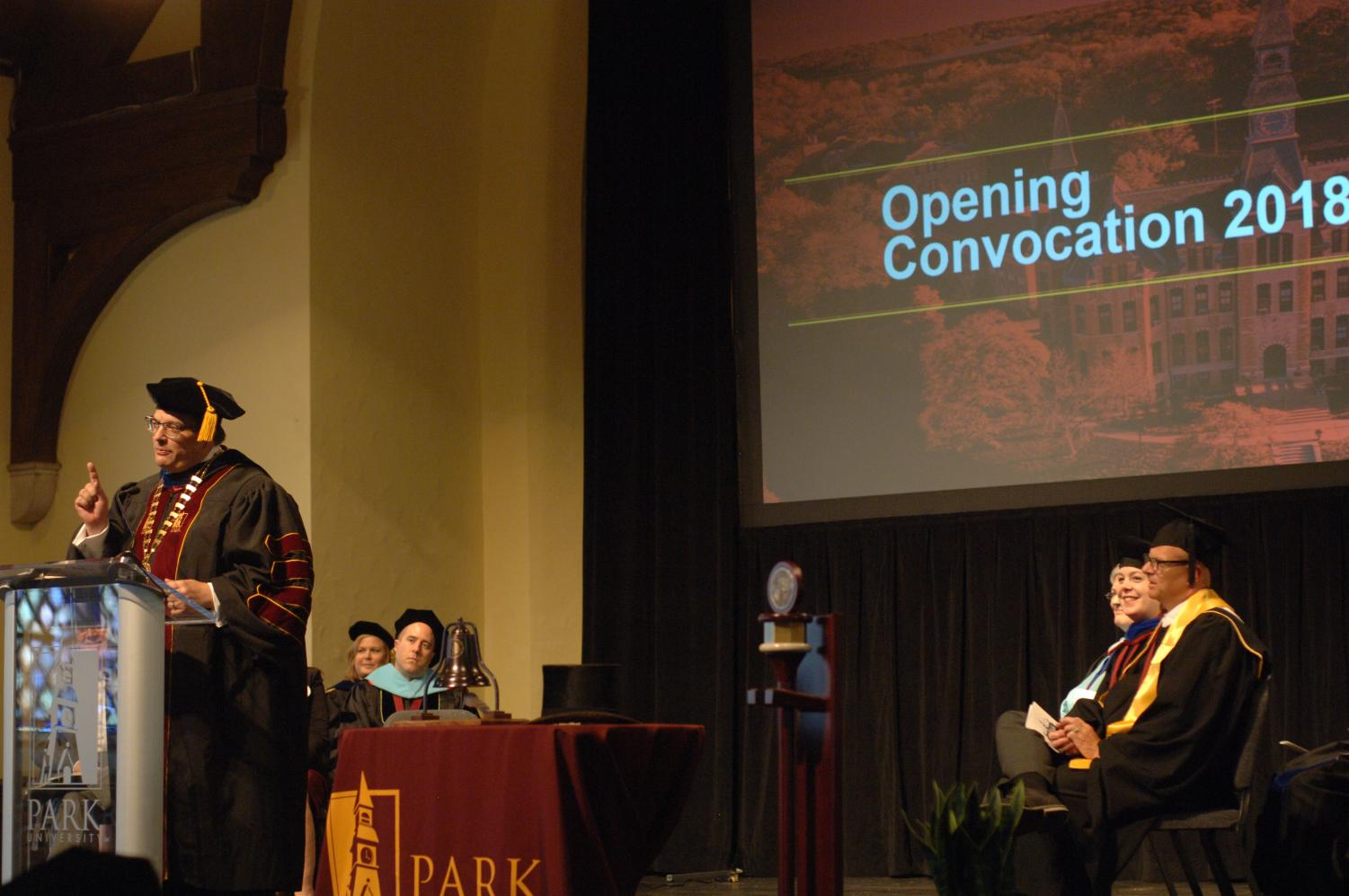 President Greg Gunderson speaks to students at  2018 opening convocation