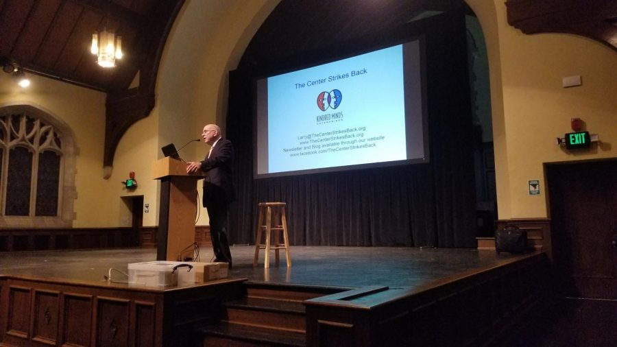 Larry Bradley speaks to Park students in Graham Tyler Memorial Chapel.