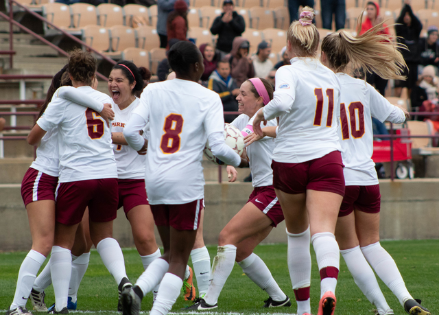 Park+women%27s+soccer+team+celebrating+their+first+of+four+goals+in+the+Nov.+2+game+against+Harris-Stowe+State+University+