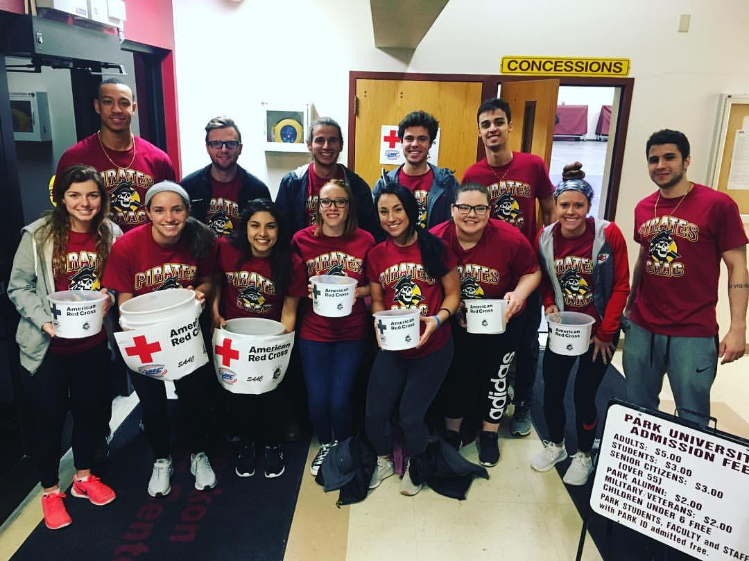 SAAC Members and student athletes raising money for red cross.