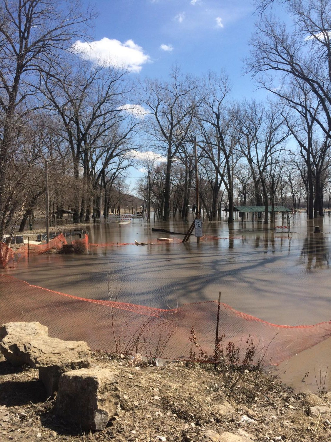 English Landing Park completely underwater as a result of the harsh weather conditions this winter