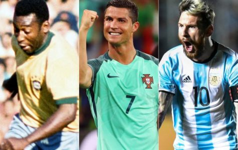 Pelé, Cristiano Ronaldo and Lionel Messi.