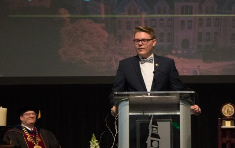 Student president gives advise at opening convocation