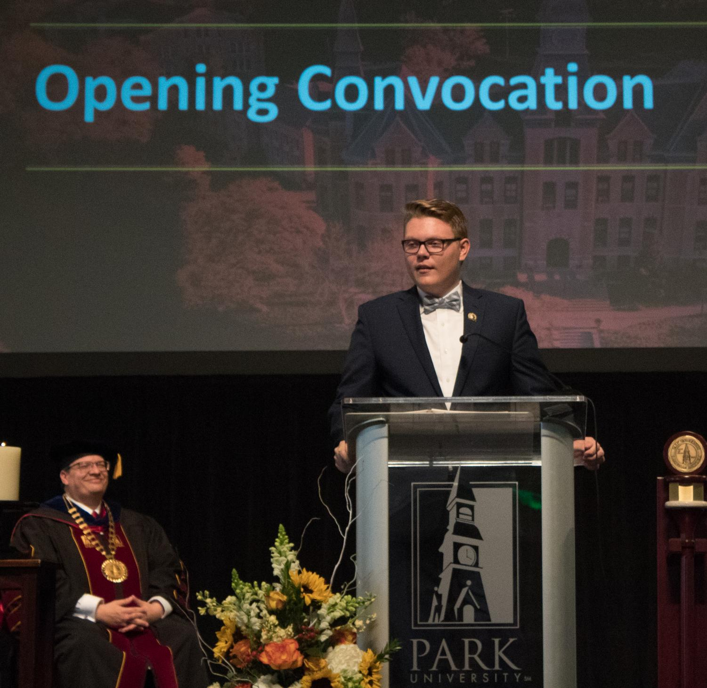 Christian Leonard, PSGA president, giving a speech at opening convocation.