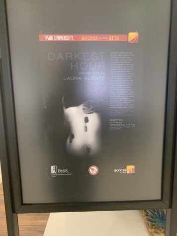 """Darkest Hour"" promotional poster sitting outside to Campanella Gallery"