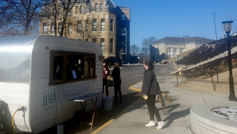 park student walking up to the coffee truck