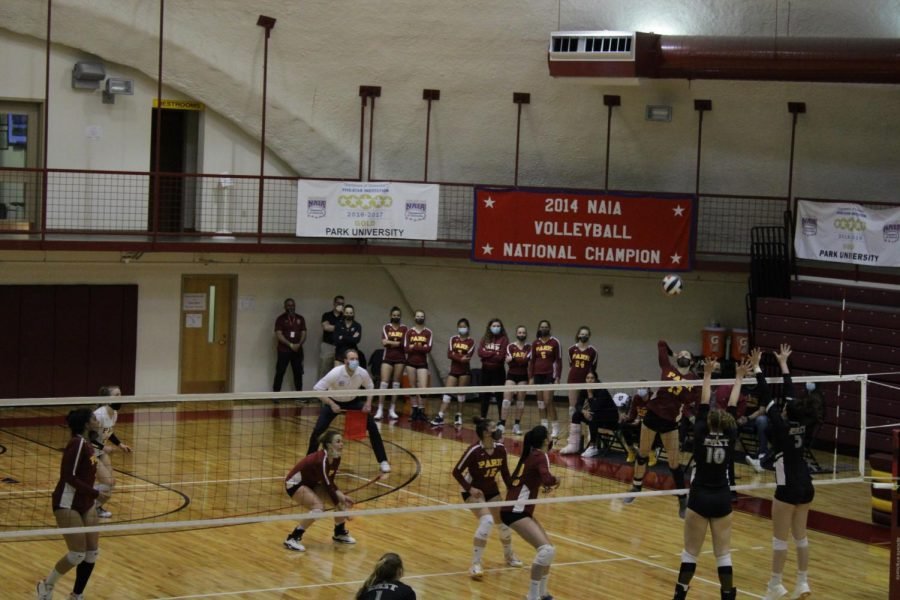 Sophomore outside hitter Malaina Hensley sets up for a spike in the NAIA Opening Round against Indiana University East.