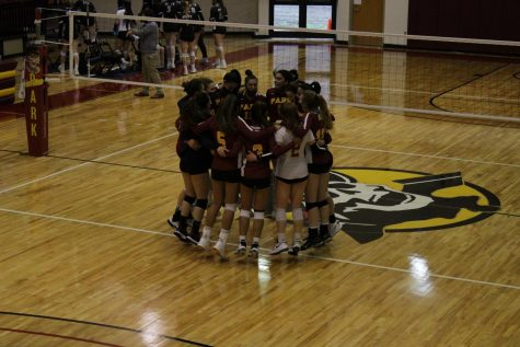 Park University womens volleyball celebrates their NAIA Opening Round win against Indiana University East.