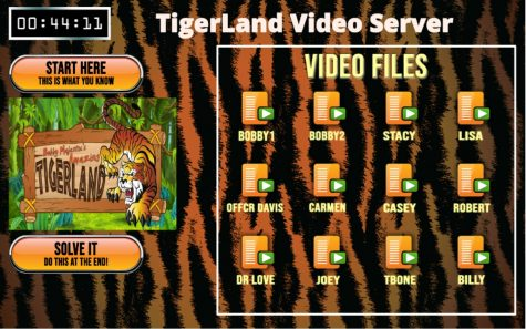 The TigerLand virtual escape room landing page where participants put in the passwords to open coded videos.